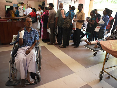 Sri Lankan patients wait for treatment at an empty government hospital in Colombo on May 5, 2017. Getty Images