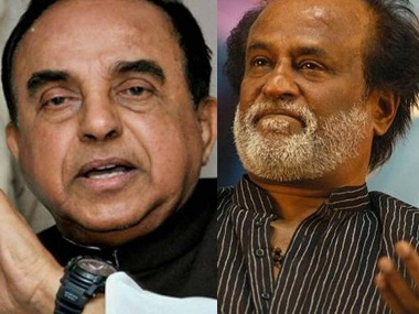 File image of Subramanian Swamy and Rajinikanth. PTI