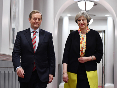 File image of Irish prime minister Enda Kenny (left) and British prime minister Theresa May. AP