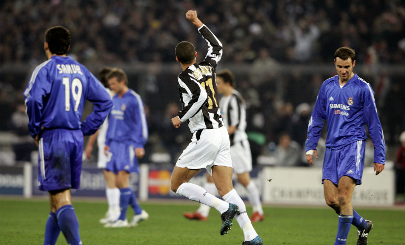 David Trezeguet celebrates his goal against Real Madrid in the last 16 of the Champions League. AFP