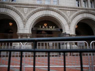Security fences are seen outside the Trump International Hotel in Washington. Reuters