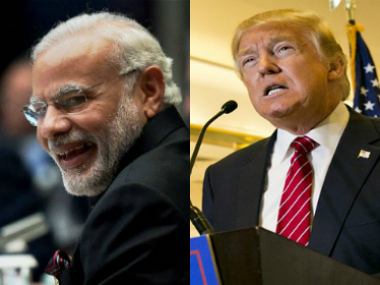 File images of Narendra Modi and Donald Trump. The two will meet for the first time on Sunday. AP