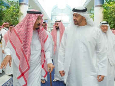 File image of Saudi King Salman bin Abdulaziz Al Saud (left) and Sheikh Mohammed bin Zayed Al Nahyan, Crown Prince of Abu Dhabi in Saudia Arabia. AP