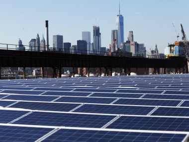 A rooftop covered with solar panels at the Brooklyn Navy Yard in New York. AP