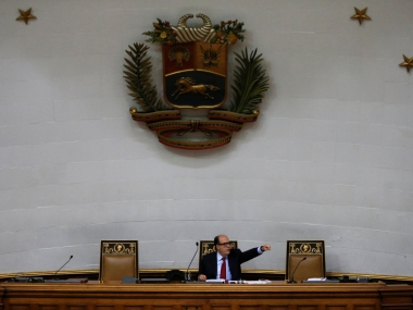 File image of Venezuelan opposition leader Julio Borges speaking in the National Assembly. Reuters