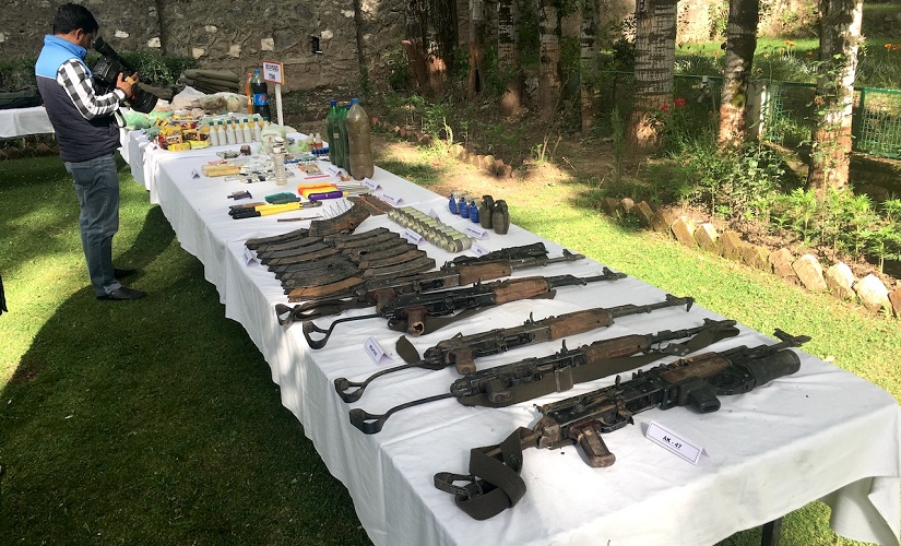 Weapons, eatables, medicines and Rs 9,000 recovered from militants. Firstpost/Sameer Yasir