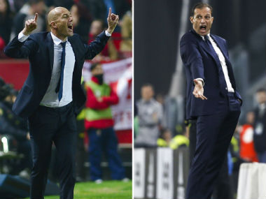 Real Madrid coach Zinedine Zidane and Juventus coach Massimo Allegri. AFP