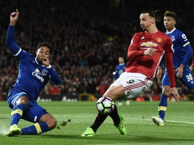 Manchester United's Zlatan Ibrahimovicin action against Everton. AFP