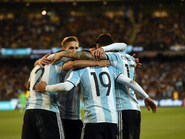 Argentina players celebrate Gabriel Mercado's goal during their friendly against Brazil in Melbourne. AFP