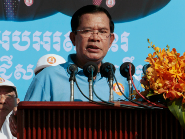 Cambodia's Prime Minister and President of Cambodian People's Party (CPP) Hun Sen delivers a speech to his supporters during the last day of campaigning for the June 4 commune elections on the outskirts of Phnom Penh, Cambodia, Friday, June 2, 2017. Twelve political parties and around 88,000 commune council candidates are vying to run in 1,646 communes, or clusters of villages, throughout the country. Although the commune elections are local affairs, the polls have the potential to have a major impact on the political landscape in the years to come. AP