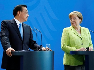 Germany Chancellor Angela Merkel and Chinese Premier Li Keqiang. Reuters