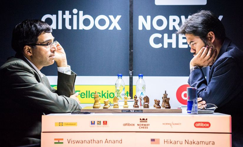 Anand was up against Nakamura in the seventh round of the Norway Chess 2017. Image courtesy: Lennart Ootes