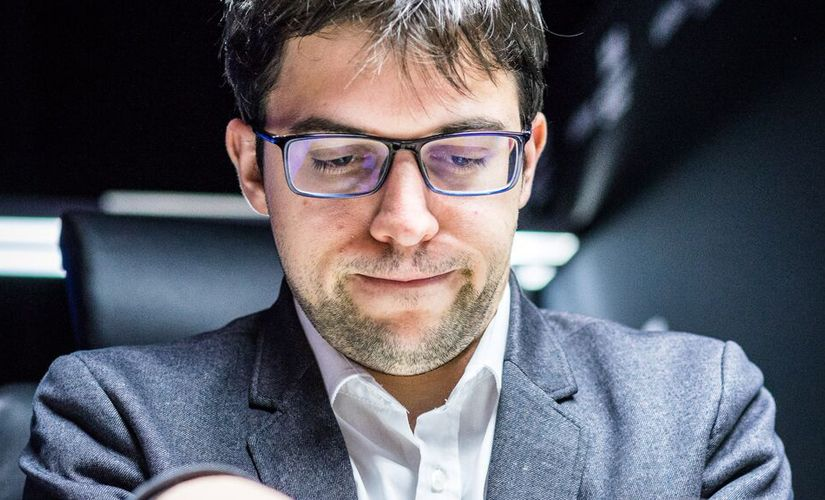 """You're gonna be fine, folks!"" Maxime Vachier-Lagrave talking to his pieces? Image courtesy: Lennart Ootes"