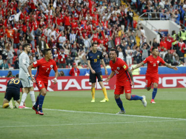 Chilean players celebrate after their goal against Australia in the Confederations Cup. AP