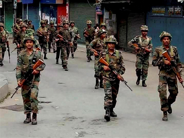 File image of CRPF troops patrolling the streets in Darjeeling. PTI