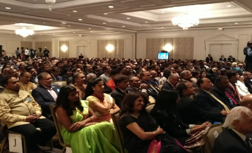 A section of the audience at Modi's speech Sunday/ MEA Twitter