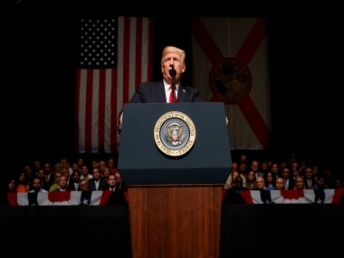 President Donald Trump delivers remarks on Cuba policy at Manuel Artime Theater. AP