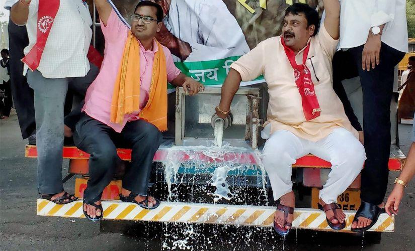 Farmers and activists spill milk during a protest in Nagpur. PTI