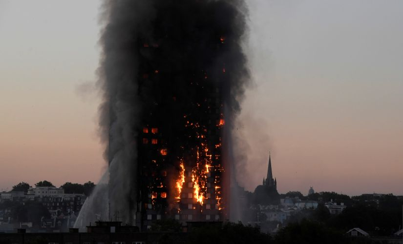 A file image of the burning Grenfell Tower in London. Reuters