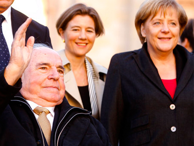File image of Helmut Kohl (left) with Angela Merkel (right). AP