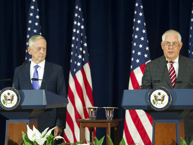 Secretary of State Rex Tillerson, right, and Secretary of Defense Jim Mattis at news conference in Washington