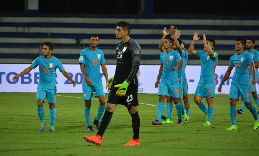 Indian players applaud the fans after beating Kyrgyz Republic on Tuesday. Image courtesy: Twitter/ @IndianFootball