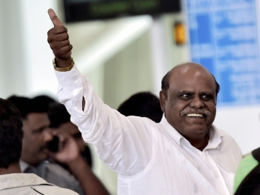 Former HC judge CS Karnan at the Kolkata airport after his arrest. PTI