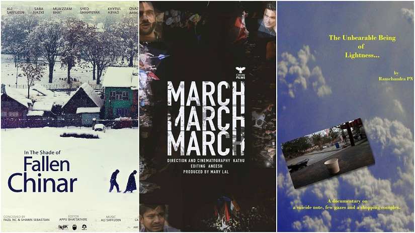 From L to R: Posters of In The Shade of Fallen Chinar, March March March and The Unbearable Being of Lightness.