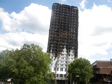 The charred facade of the Grenfell Tower on Thursday. AP