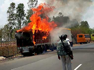 Representational image of farmers torch vehicles during a protest in Phanda near Bhopal, Madhya Pradesh. PTI