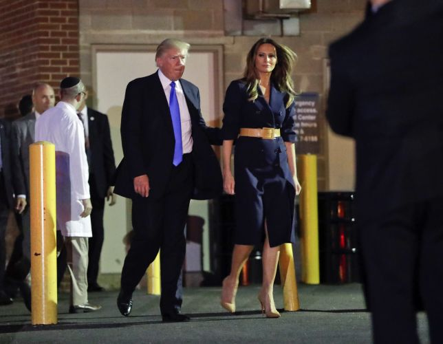 President Donald Trump with wife Melania leave after visiting Steve Scalise. AP