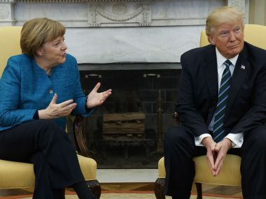 File image of German chancellor Angela Merkel (L) with US president Donald Trump (R). AP