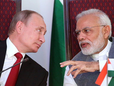 File image of Russian president Vladimir Putin (left) with Indian prime minister Narendra Modi (right). Getty Images