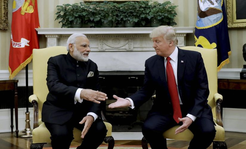 President Donald Trump with Prime Minister Narendra Modi during their meeting in the Oval Office of the White House in Washington on Monday. AP