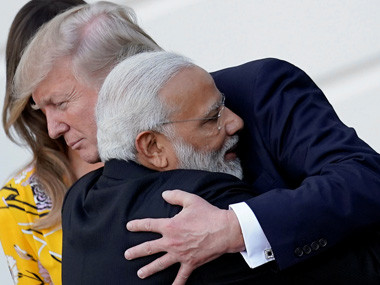 Prime Minister Narendra Modi with President Donald Trump as the former departs from the White House on Monday. Reuters