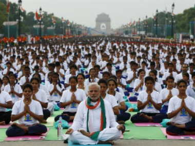 Narendra Modi performs Yoga at the first International Yoga Day in Delhi. Reuters