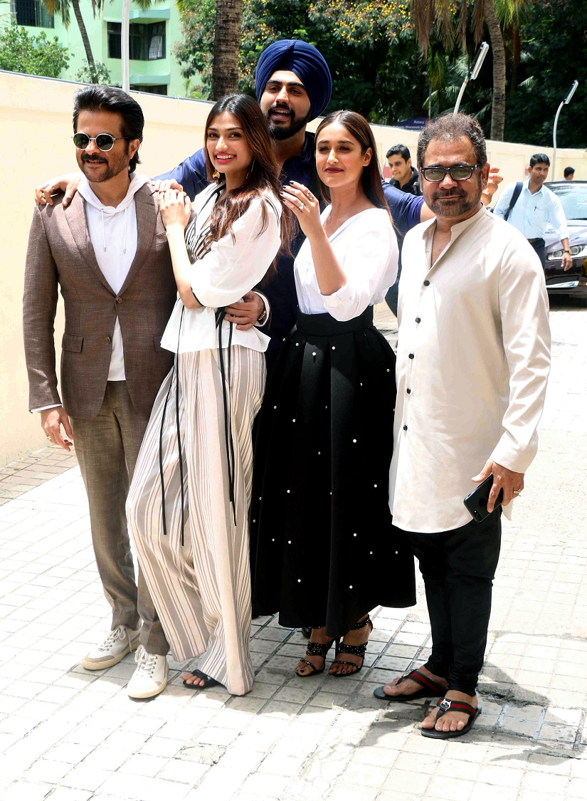 Bollywood actors Anil Kapoor, Athiya Shetty, ILeana Dcruz, Arjun Kapoor and filmmaker Anees Bazmee during the trailer launch of film Mubarakan in Mumbai, India on June 21, 2017. (Sushant Agonde/ SOLARIS IMAGES)