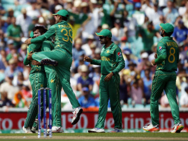 Pakistan players celebrate after taking the wicket of India's Shikhar Dhawan in the Champions Trophy 2017 final. Reuters