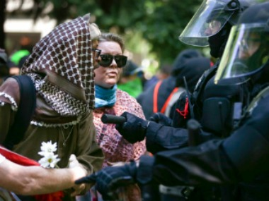 Four separate demonstrations - were held in downtown Portland. AP