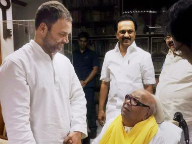 Congress v-ice-president Rahul Gandhi greets DMK chief M Karunanidhi on his 94th birthday in Chennai on Sunday. PTI