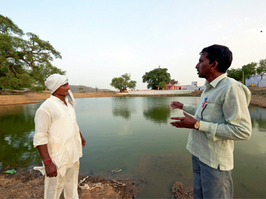 A pond turned into a rain water catchment area under Mukhya Mantri Jal Swavlamban Abhiyan in Rajasthan's Kolila Joga village in Alwar.