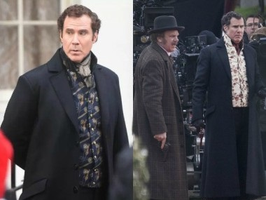 Photographs from the sets of Holmes and Watson. Images from Twitter