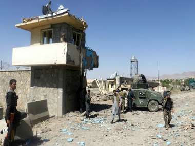 Security forces deployed as the site of suicide attacks and ongoing clash between Taliban insurgents and government forces in the main police station in eastern Paktia province, Afghanistan. AP