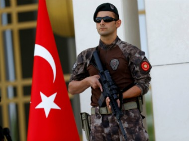 File photo of a a Turkish special forces police officer guards the entrance of the Presidential Palace in Ankara. Reuters