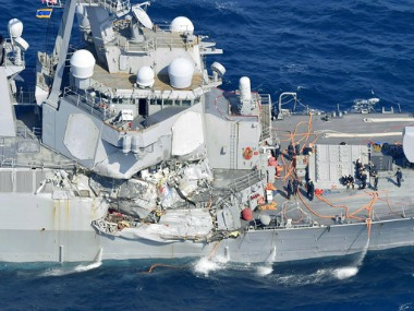 The damage of the right side of the USS Fitzgerald. AP