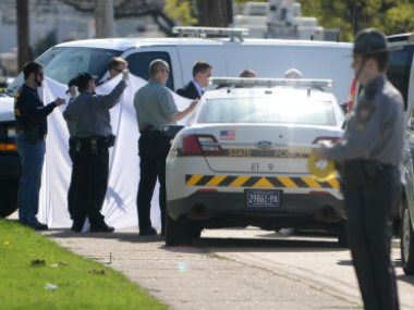 US police officers at a crime scene (representational photo). Reuters