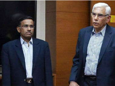 File image of Vikram Limaye with COA head Vinod Rai. PTI