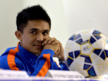 Sunil Chhetri talks to press conference in this file photo. AFP