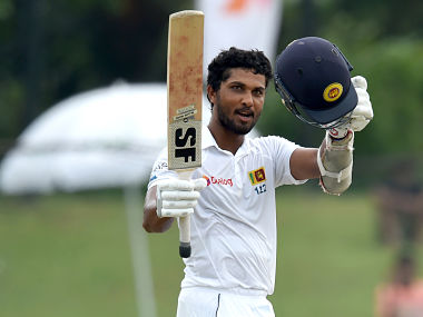 Dinesh Chandimal celebrates a Test century in this file photo. AFP