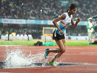Indian athlete Sudha Singh paricipate in the women's 3000 steeplechase event during the third day of the 22nd Asian Athletics Championships. AFP